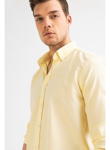 Avva Erkek  Oxford Klasik Yaka Gömlek A01S2272 Sarı